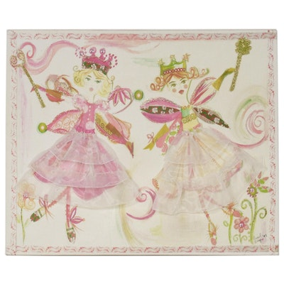 Liesl Long Chaintreuil Mixed Media Composition of Fairy Princesses, 21st Century