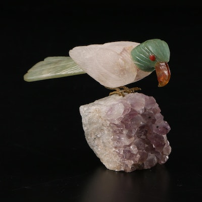 Carved Serpentine and Quartz Parrot Figurine on Amethyst Base