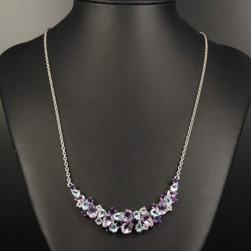 Sterling Topaz and Amethyst Cluster Necklace