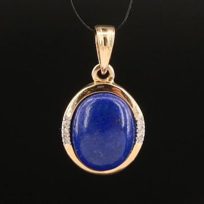 14K Lapis Lazuli and Diamond Pendant