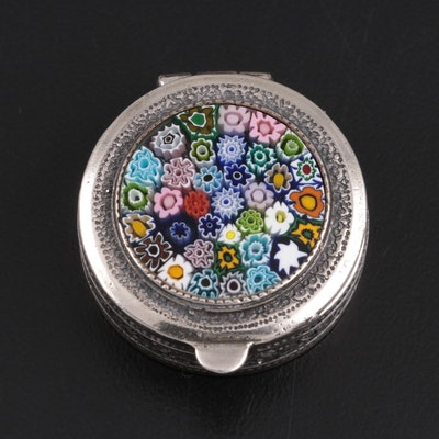 "Italian Murano ""Millefiori"" Glass and Venezia Sterling Silver Vinaigrette"