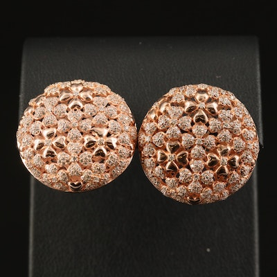 Sterling Cubic Zirconia Floral Button Earrings