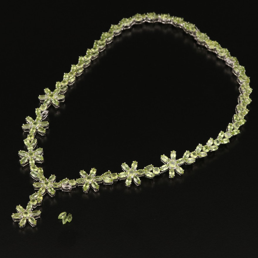 Sterling Peridot Drop Necklace