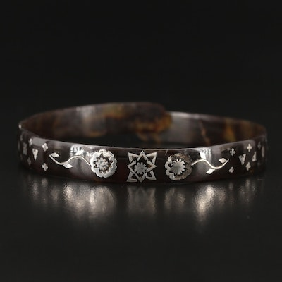 Mid Victorian Tortoise Shell Bangle with Sterling Silver Piqué Posé Inlay