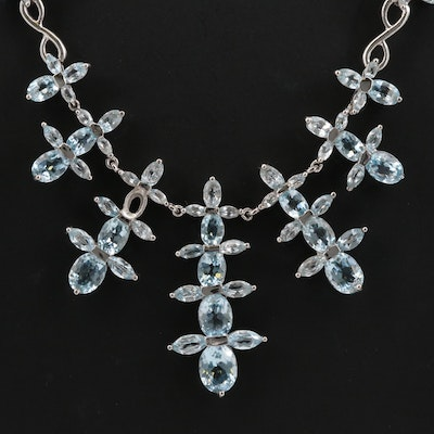 Sterling Silver Topaz Tiered Drop Necklace