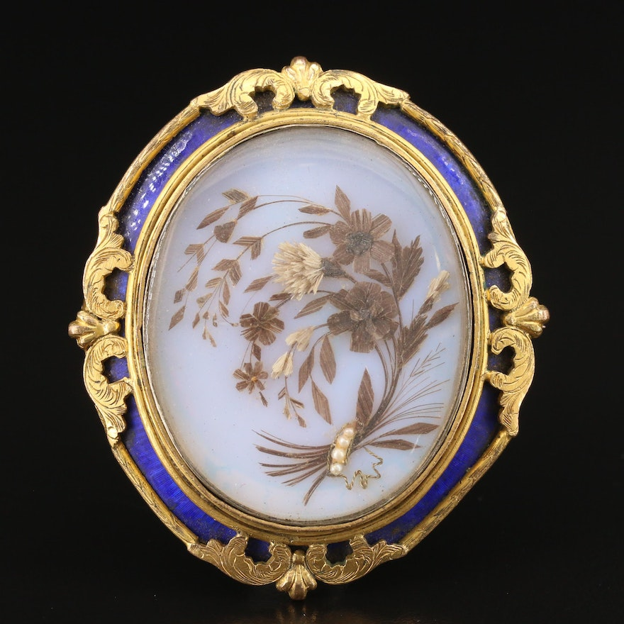 Early Victorian Pearl and Enamel Mourning Brooch with Hair Work