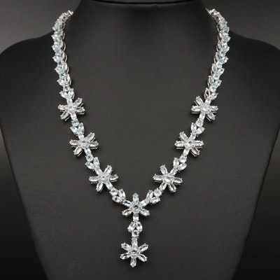 Sterling Topaz Floral Drop Necklace