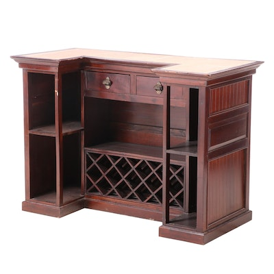 Mahogany Bar with Tile Top, Mid-20th Century