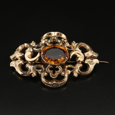 Victorian 10K Citrine Converter Brooch with Engraved Floral Design