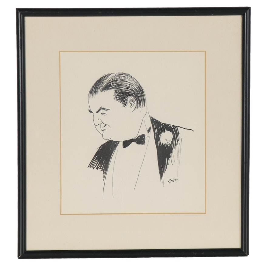 Ink Drawing of a Gentleman in a Tuxedo, Late 20th Century