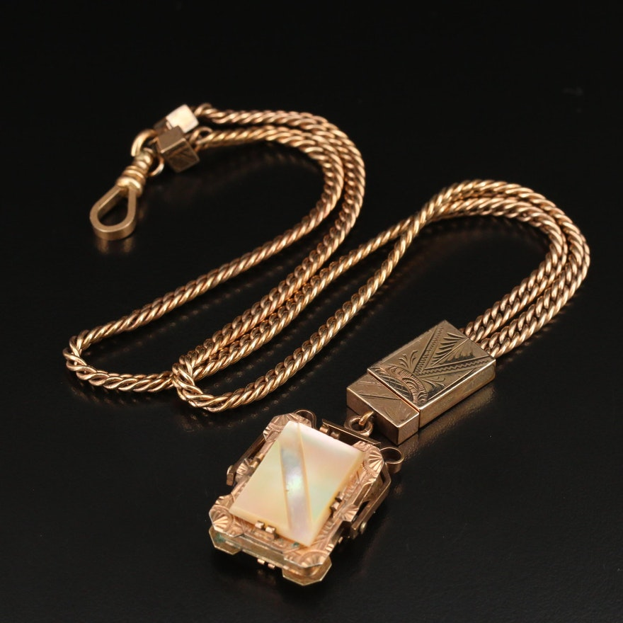 Victorian Watch Fob Chain with Reversible Mother of Pearl Fob