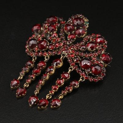 Victorian Bohemian Garnet Fringe Brooch