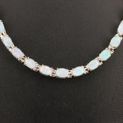Sterling Silver Opal Riviére Necklace