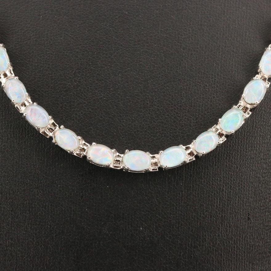 Sterling Silver Opal Riviére Necklace