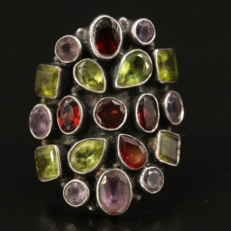 Sterling Peridot, Amethyst and Garnet Cluster Ring