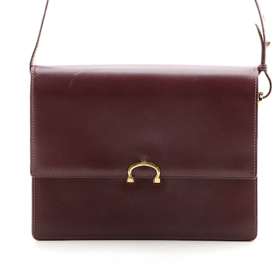 Cartier Burgundy Leather Flap Front Shoulder Bag