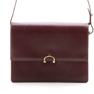 Cartier Burgundy Leather Flap Front Shoulder Bag