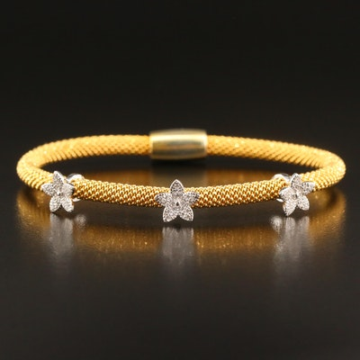 Sterling Silver Cubic Zirconia Bangle with Flower Detail