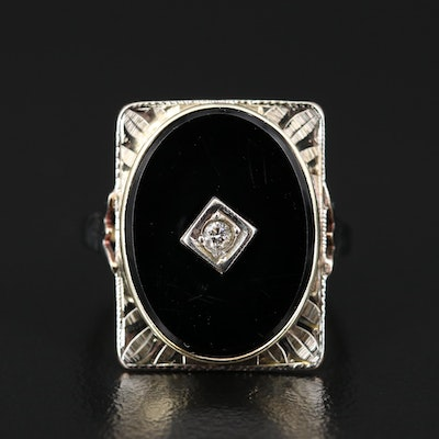 Vintage 10K Diamond and Black Onyx Ring
