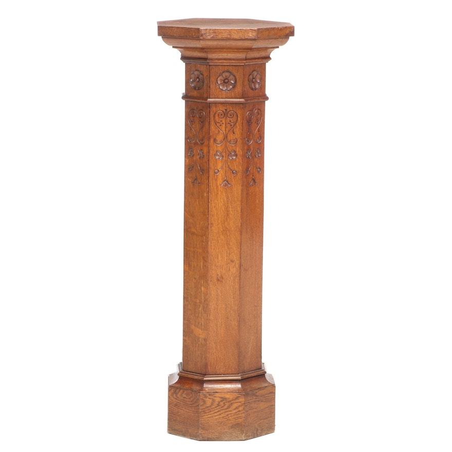 Late Victorian Quartersawn Oak Column Pedestal, circa 1900