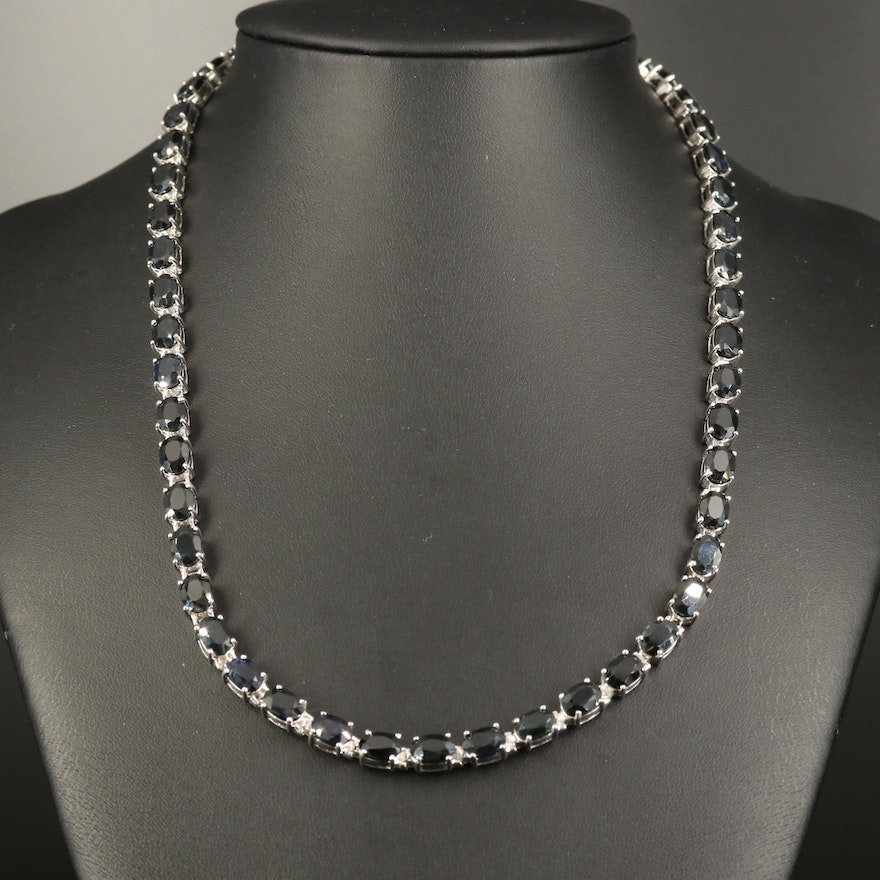 Sterling Sapphire Line Necklace