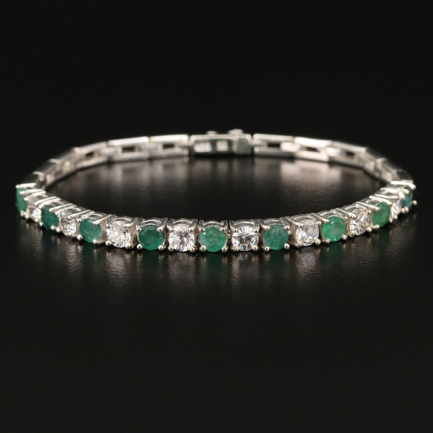 Sterling Emerald and Glass Bracelet