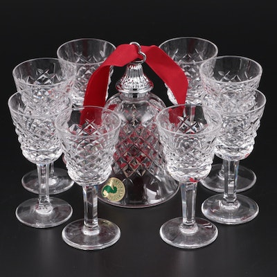 "Waterford ""Alana"" Crystal Cordial Glasses and Bell"