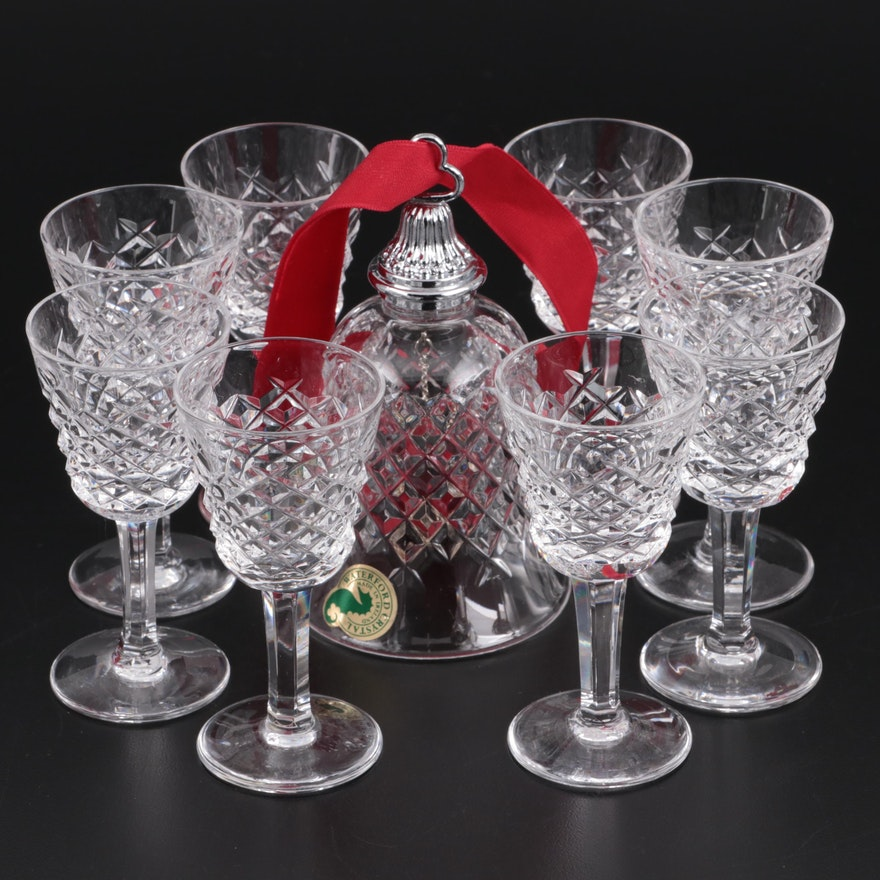 """Waterford """"Alana"""" Crystal Cordial Glasses and Bell"""