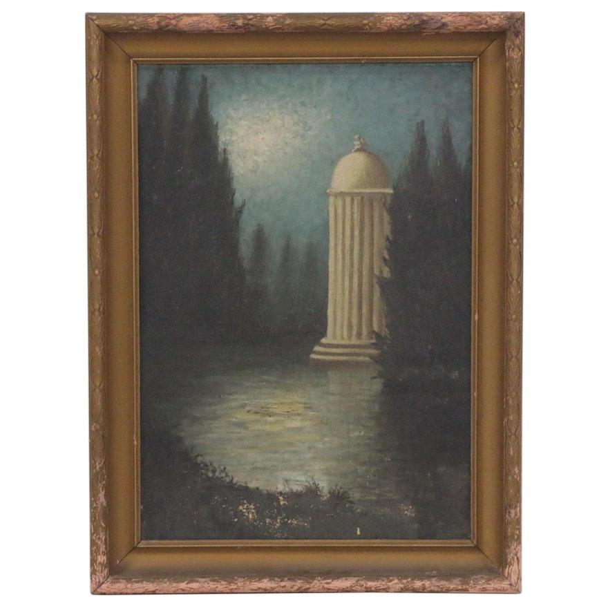 Romantic Oil Painting of Moonlit Pond, 20th Century