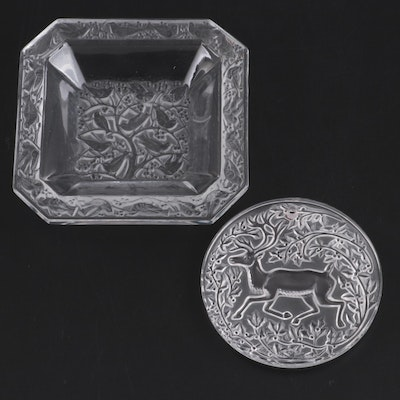 "Lalique Crystal ""Anna"" Pin Dish and Reindeer Ornament"