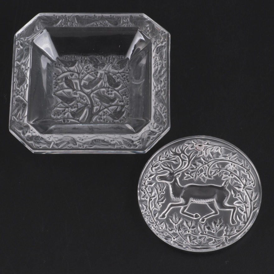 """Lalique Crystal """"Anna"""" Pin Dish and Reindeer Ornament"""