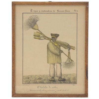 """César Hipólito Bacle Lithograph """"El Vendedor de Escobas,"""" 19th Century"""
