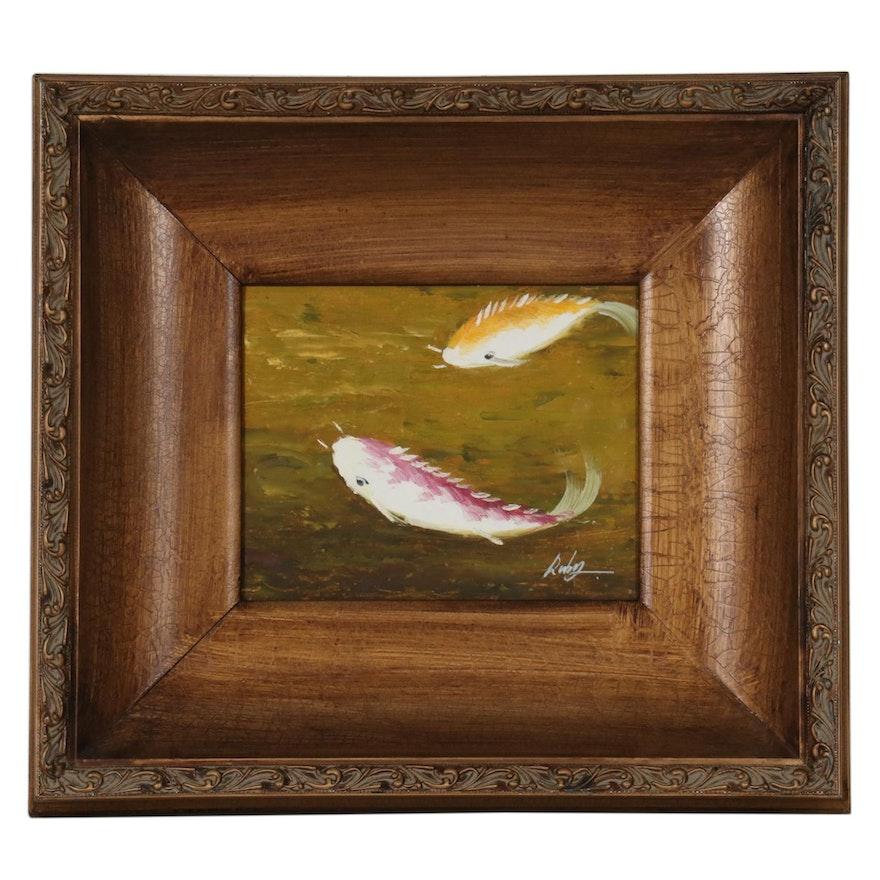 Oil Painting of Koi Fish, 21st Century
