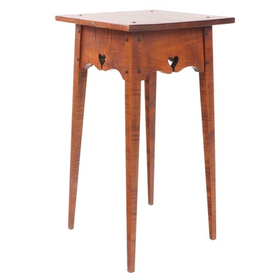 David T. Smith American Primitive Style Curly Maple End Table, circa 2000