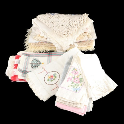 Hand-Embroidered Dresser Scarves, Table Cloths, and Other Linens