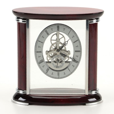 "Bey-Berk ""Luxemburg"" Desk Clock with Skeleton Movement"