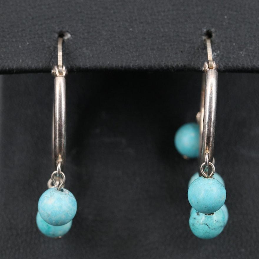 Sterling Silver Faux Turquoise Hoop Earrings