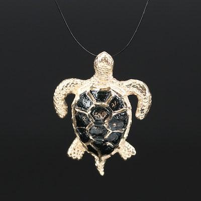 14K Enamel Turtle Pendant