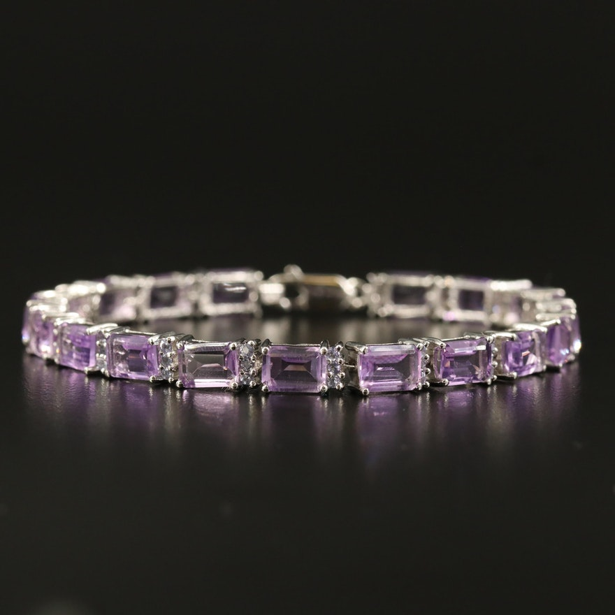 Sterling Amethyst and Tanzanite Bracelet