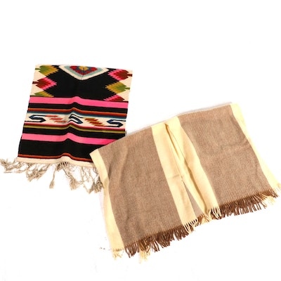 Gutlan Wool Poncho with Handwoven Wool Blanket Poncho