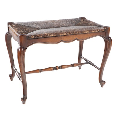 French Provincial Style Mahogany and Rush Footstool, Early 20th Century
