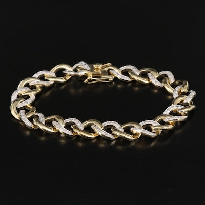 Sterling Diamond Curb Link Bracelet