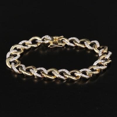 Sterling Diamond Curb Link Bracelet