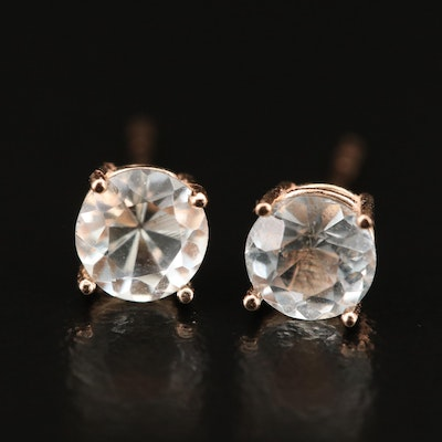 14K Rose Gold Round Faceted Aquamarine Stud Earrings