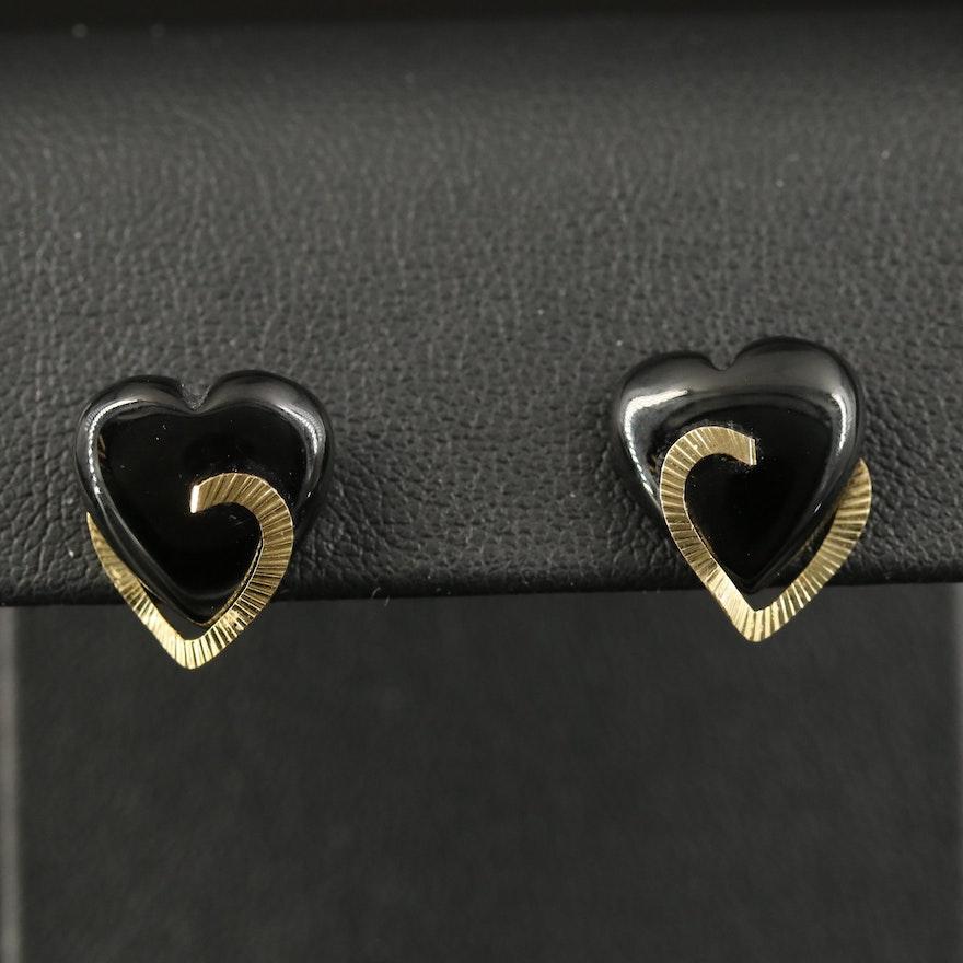 14K Black Onyx Heart Stud Earrings