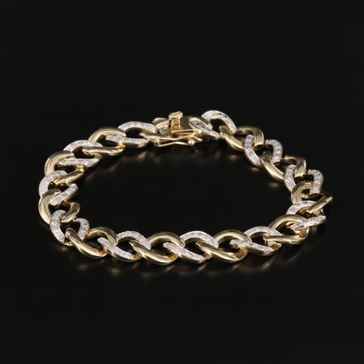 Sterling Silver Diamond Curb Chain Bracelet