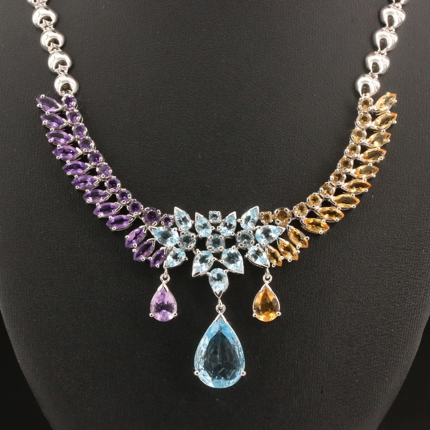 Sterling Silver Topaz, Amethyst and Citrine Drop Necklace