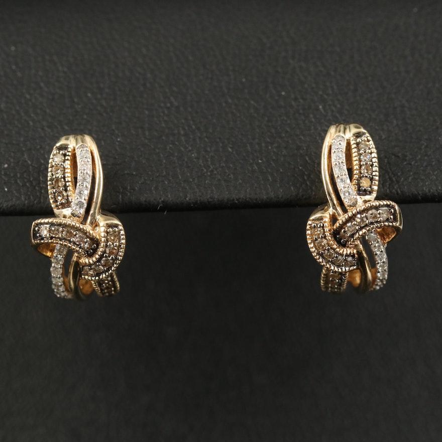 10K Diamond Loop J Hoop Earrings