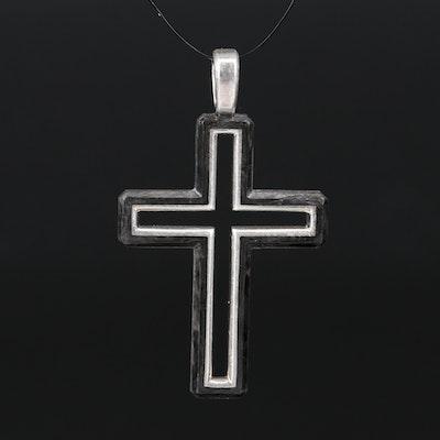 David Yurman Sterling Silver Forged Carbon Cross Pendant