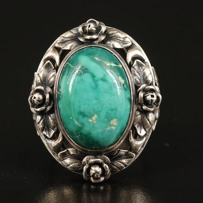 Vintage Sterling Turquoise Ring with Rosebud Bezel